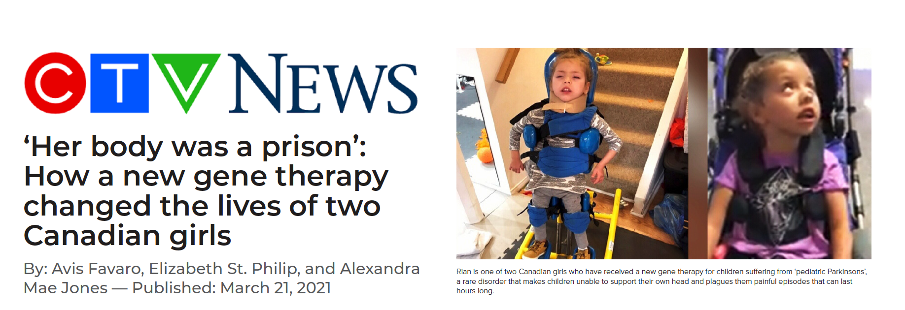 Her Body was a prison: How a new gene therapy change the lives of two Canadian girls